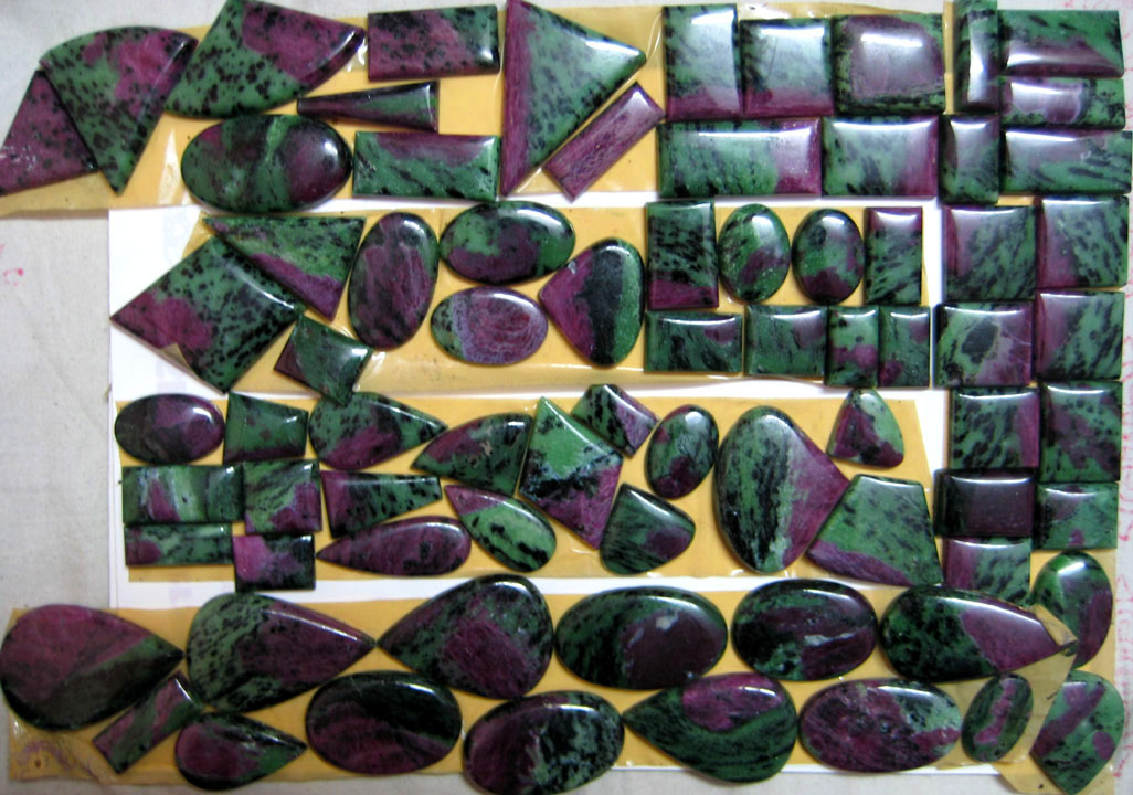 Ruby in Fuschite Cabochons, Gemstone Cabochons